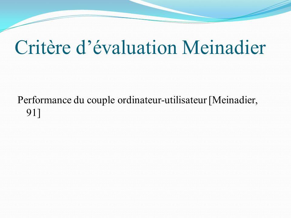 Critère d'évaluation Meinadier