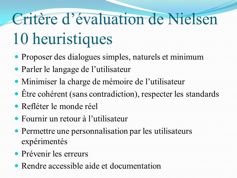 Critère d'évaluation de Nielsen 10 heuristiques