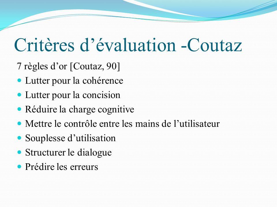 Critères d'évaluation -Coutaz