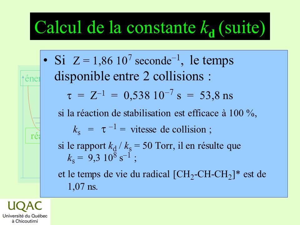 Calcul de la constante kd (suite)