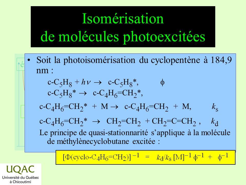 Isomérisation de molécules photoexcitées
