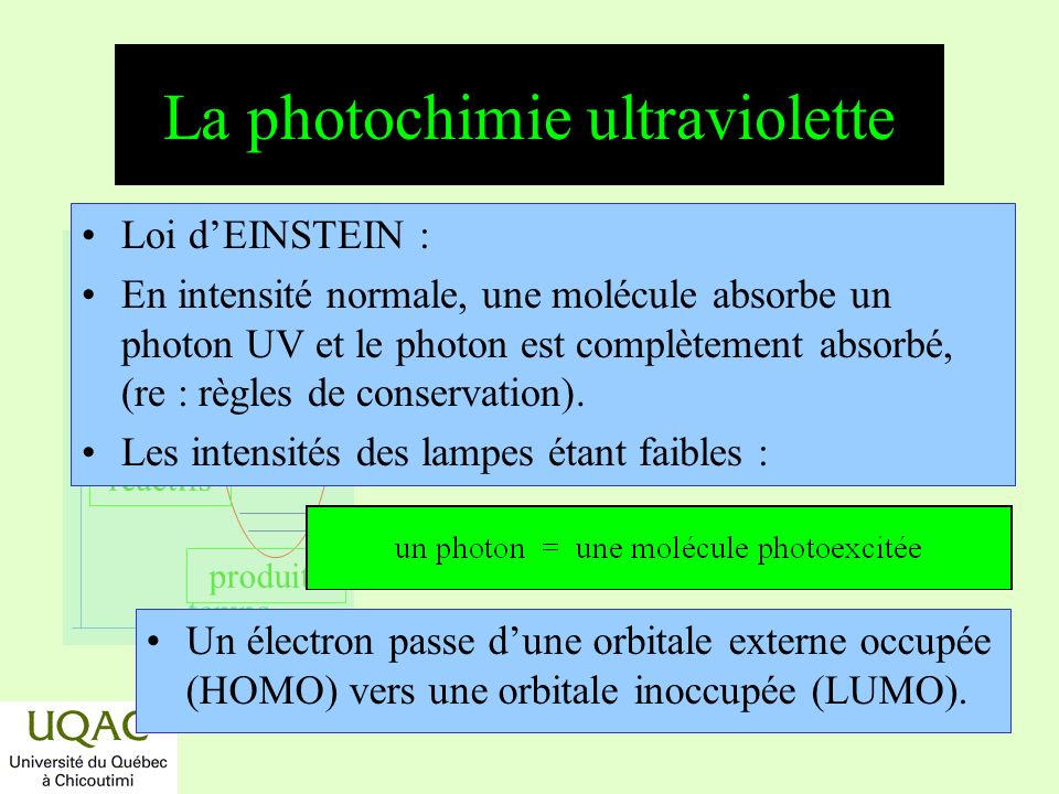 La photochimie ultraviolette