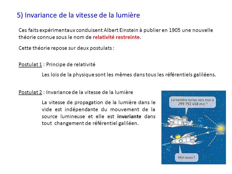 5) Invariance de la vitesse de la lumière