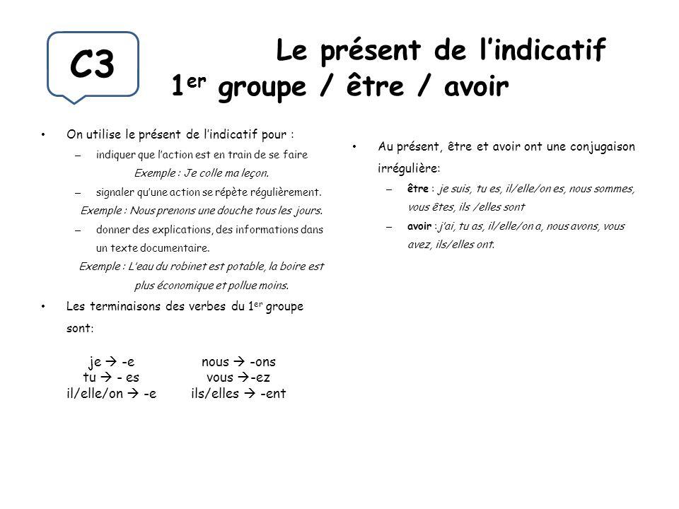 Le présent de l'indicatif 1er groupe / être / avoir