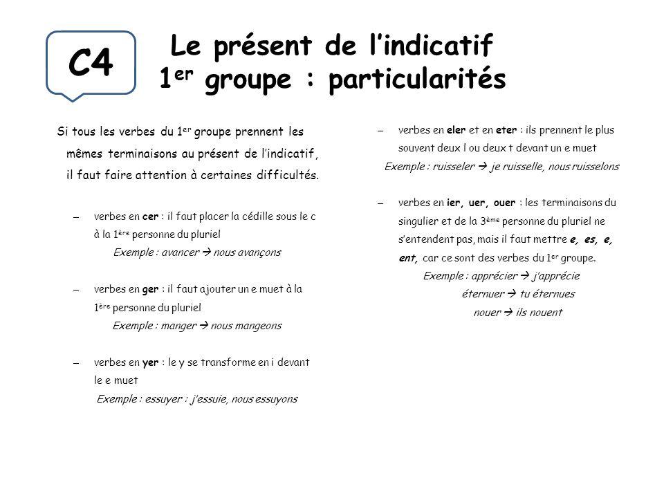 Le présent de l'indicatif 1er groupe : particularités