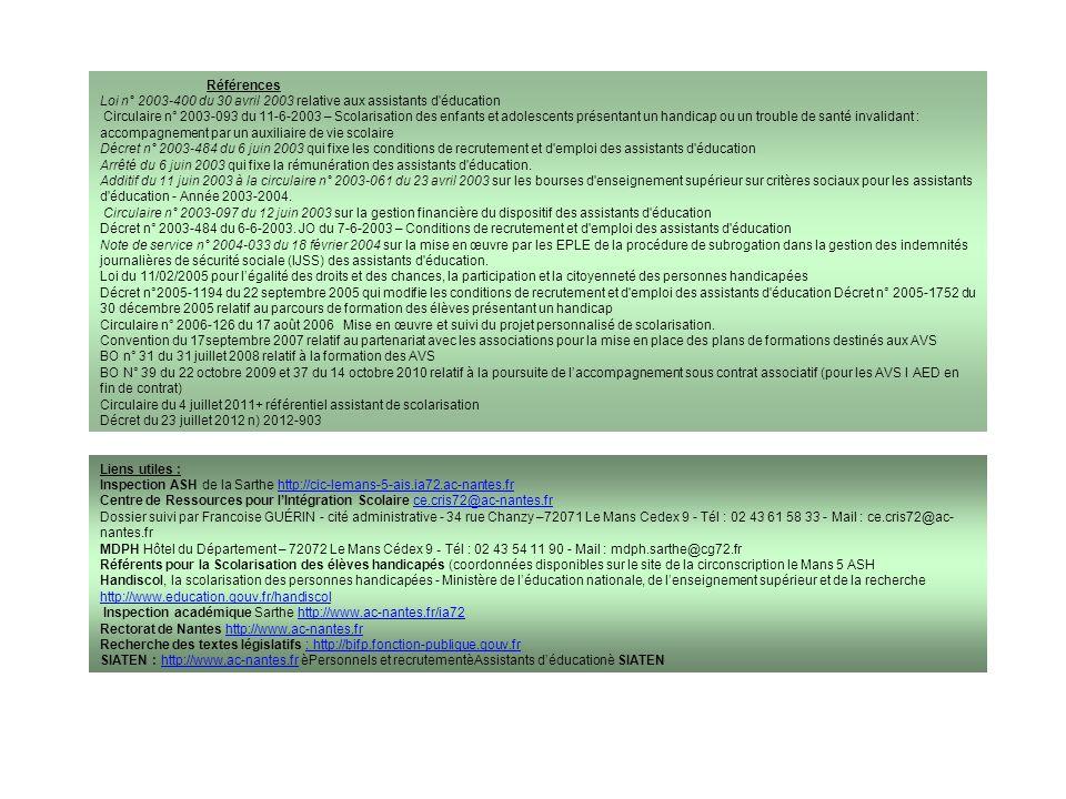 Références Loi n° 2003-400 du 30 avril 2003 relative aux assistants d éducation.