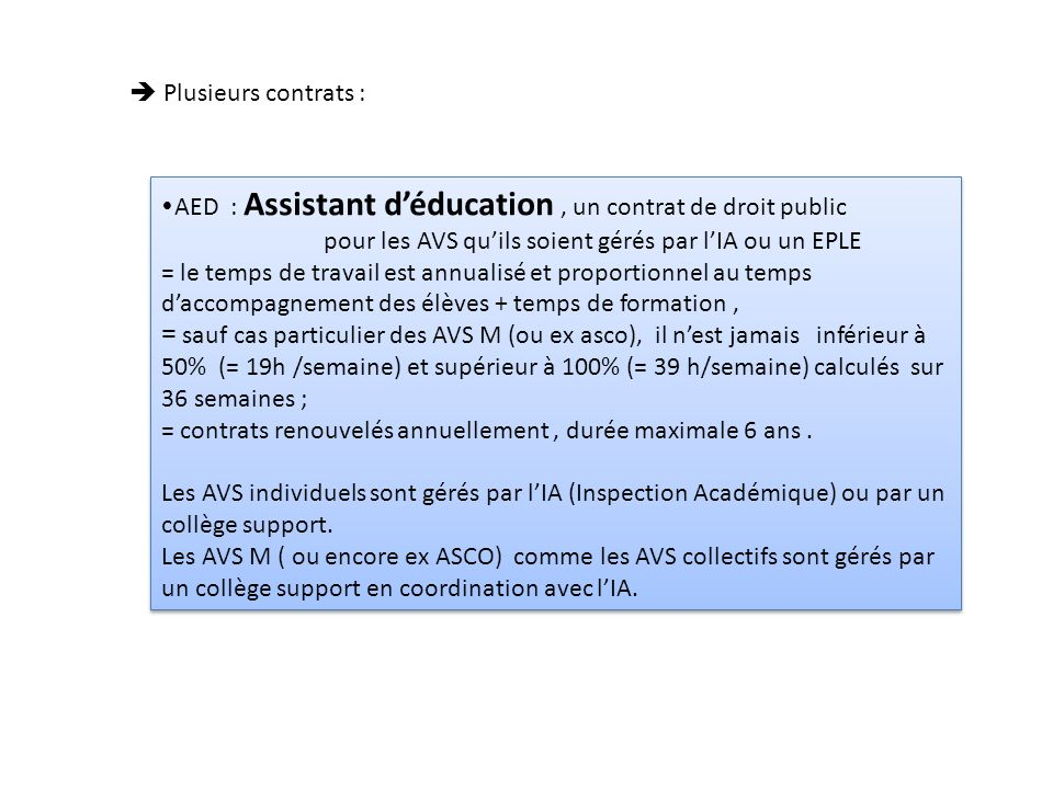  Plusieurs contrats : AED : Assistant d'éducation , un contrat de droit public. pour les AVS qu'ils soient gérés par l'IA ou un EPLE.