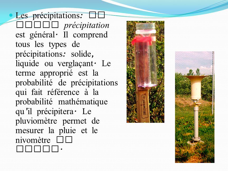 Les précipitations: Le terme précipitation est général