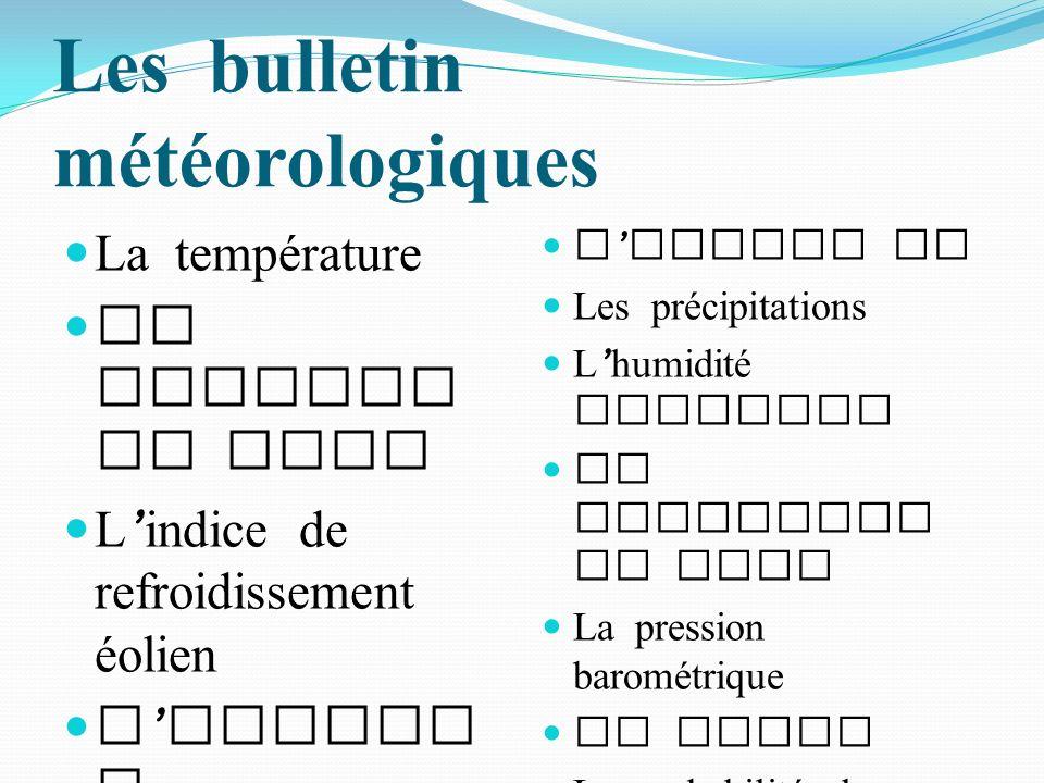 Les bulletin météorologiques