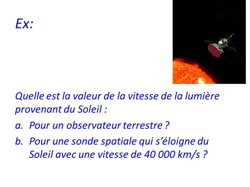 Ex: Quelle est la valeur de la vitesse de la lumière provenant du Soleil : Pour un observateur terrestre