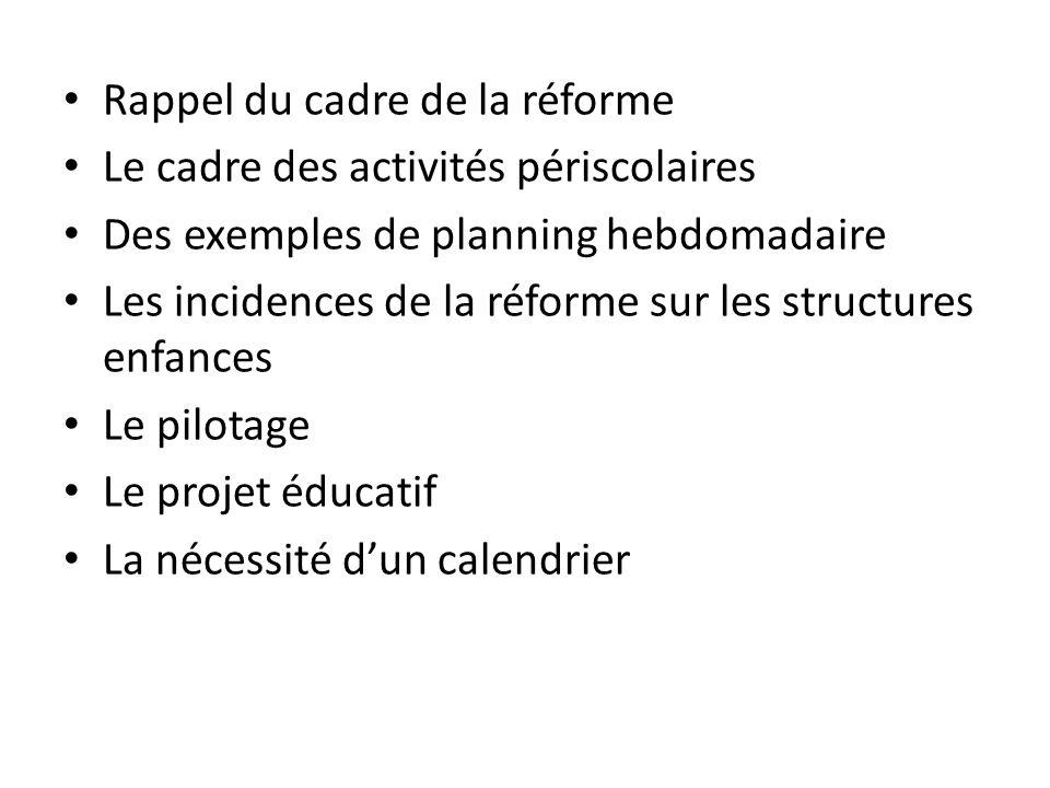 Rappel du cadre de la réforme