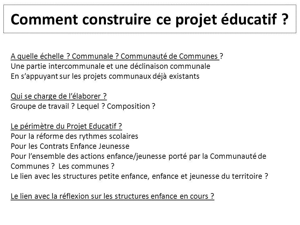Comment construire ce projet éducatif