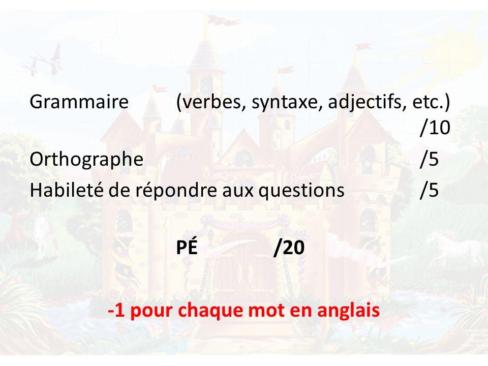 Grammaire (verbes, syntaxe, adjectifs, etc