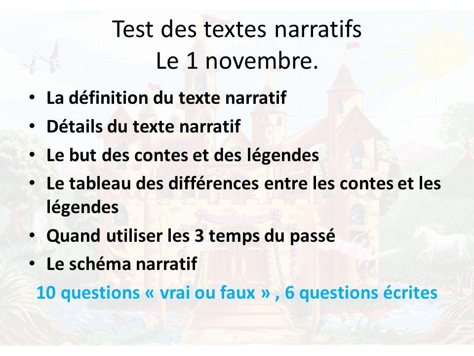 Test des textes narratifs Le 1 novembre.
