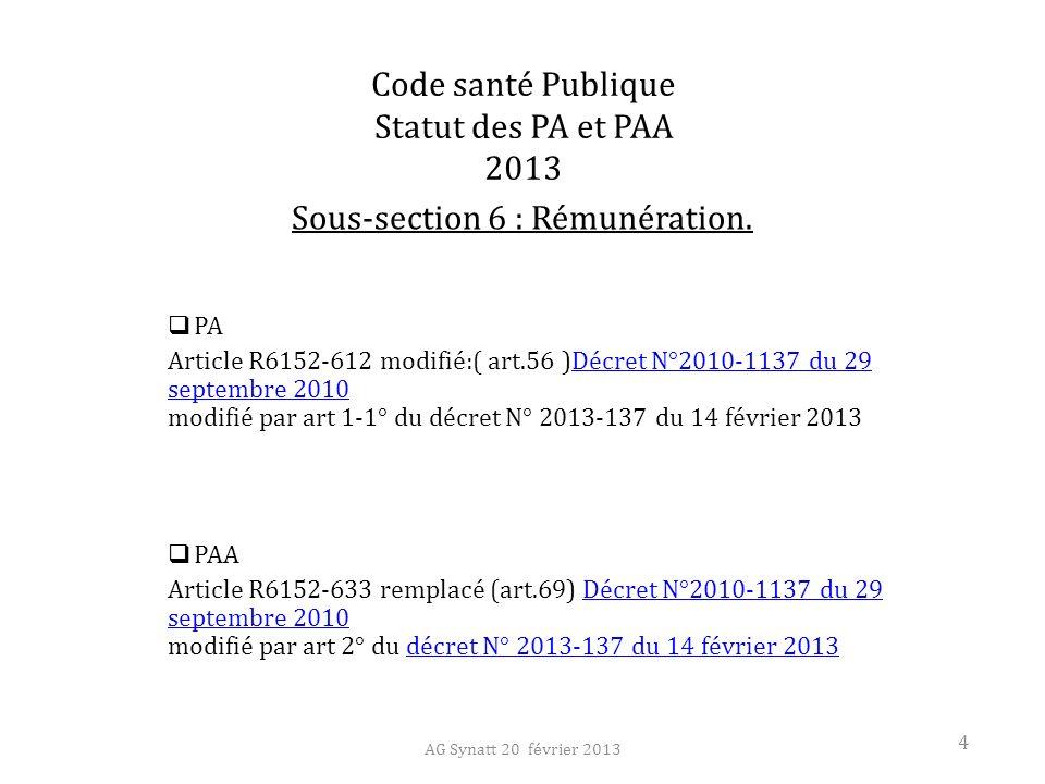 Code santé Publique Statut des PA et PAA 2013