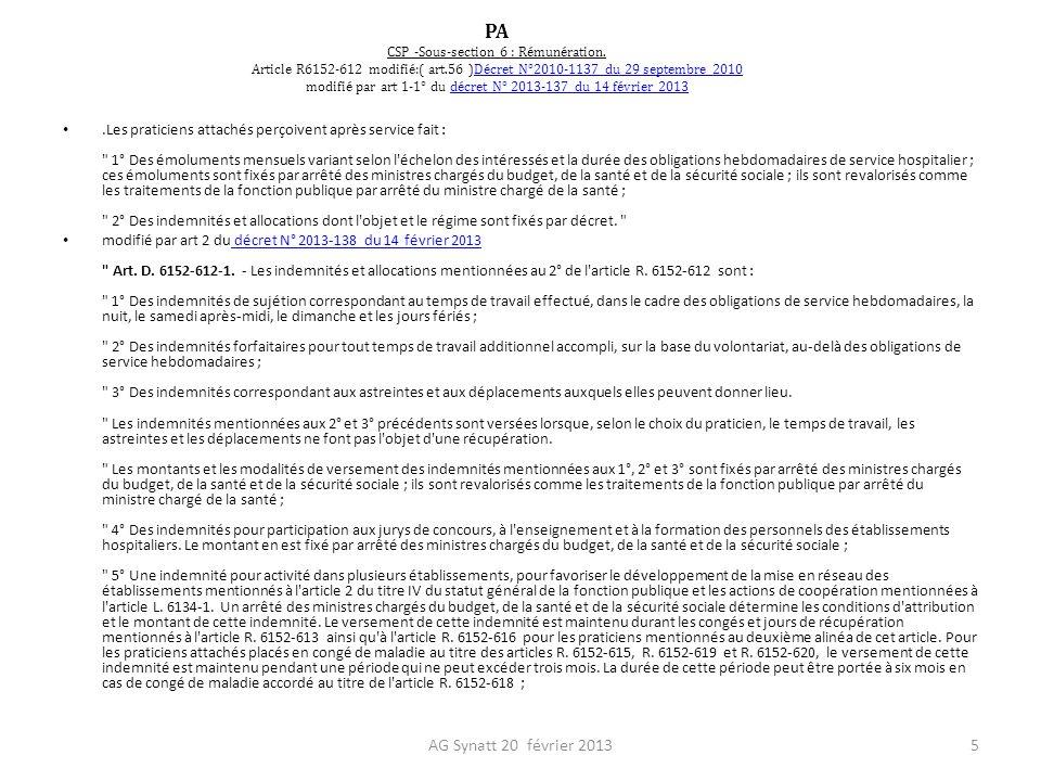 PA CSP -Sous-section 6 : Rémunération. Article R6152-612 modifié:( art