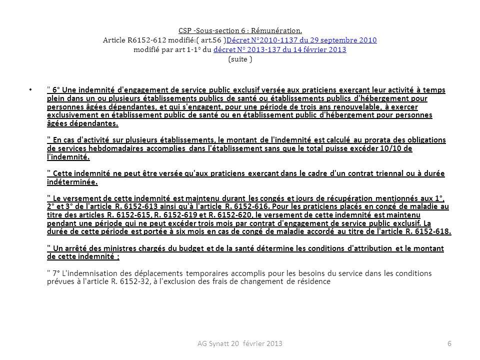 CSP -Sous-section 6 : Rémunération. Article R6152-612 modifié:( art