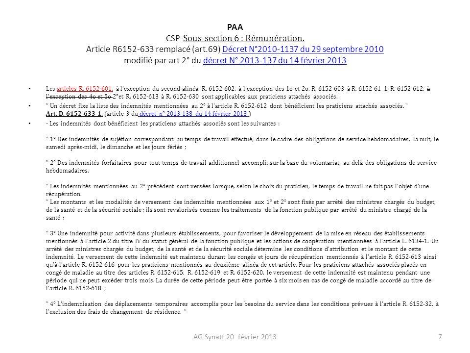 PAA CSP-Sous-section 6 : Rémunération. Article R6152-633 remplacé (art