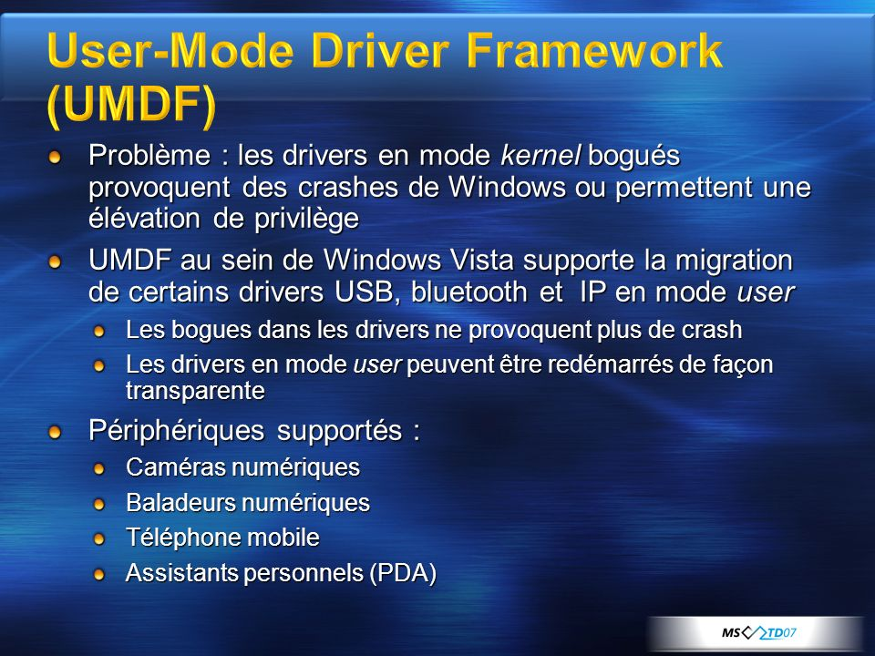 User-Mode Driver Framework (UMDF)
