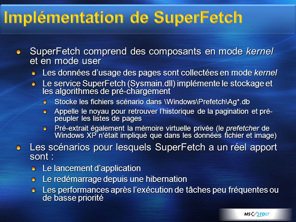 Implémentation de SuperFetch