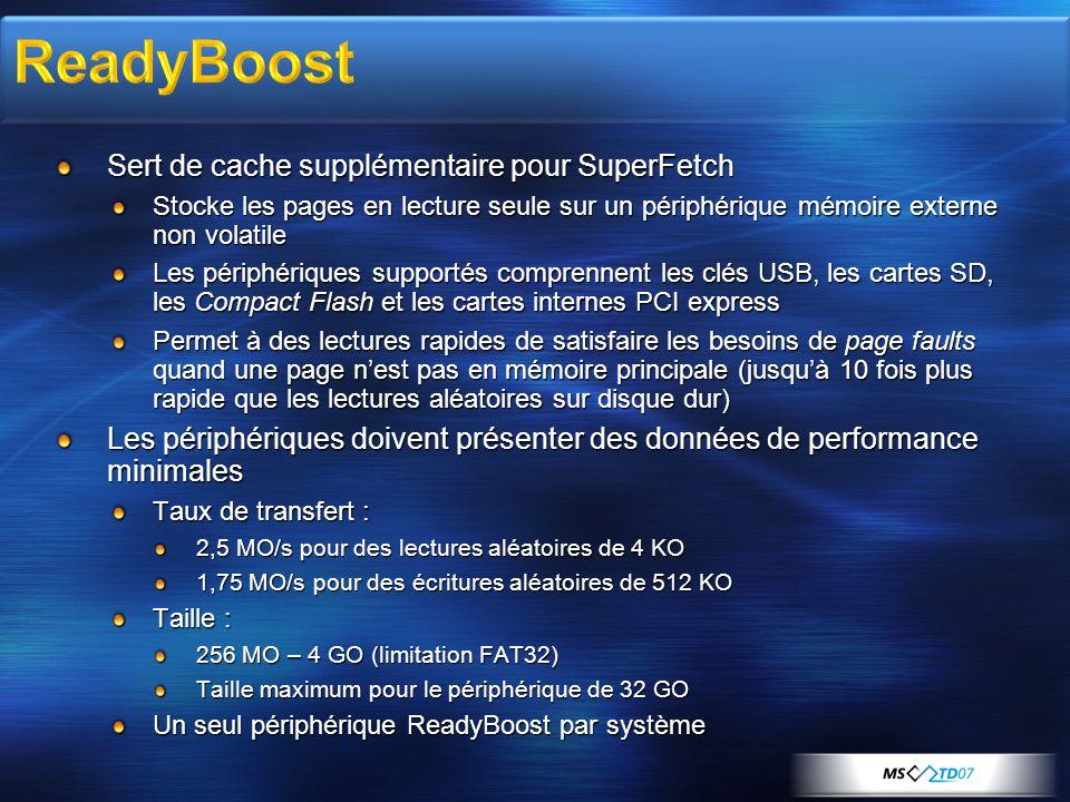 ReadyBoost Sert de cache supplémentaire pour SuperFetch