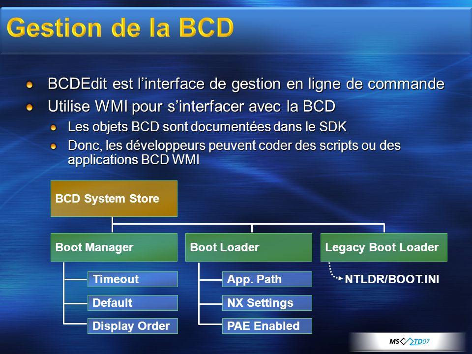 3/30/2017 7:58 AM Gestion de la BCD. BCDEdit est l'interface de gestion en ligne de commande. Utilise WMI pour s'interfacer avec la BCD.