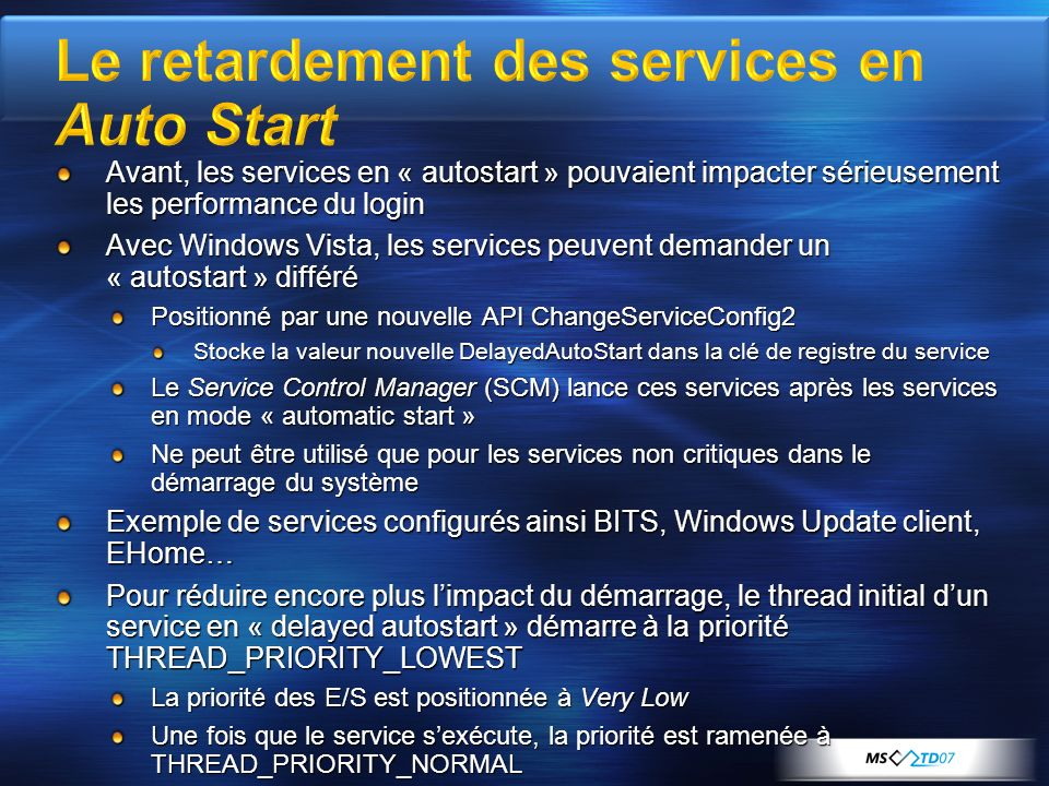 Le retardement des services en Auto Start
