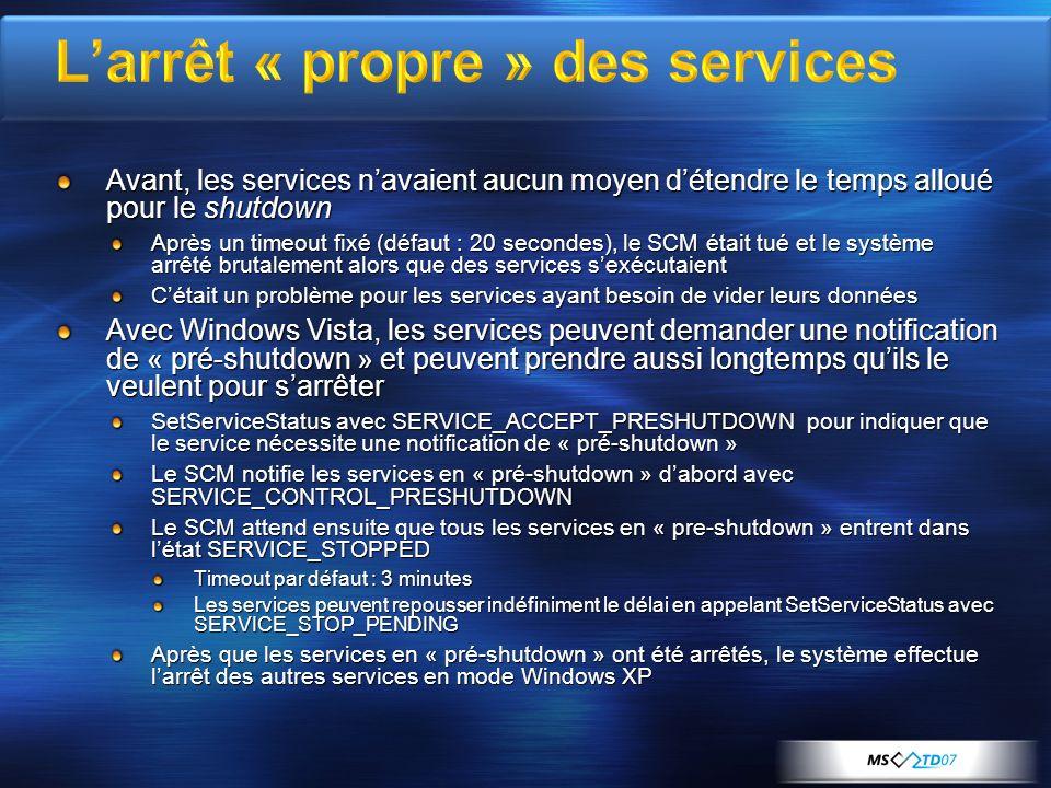 L'arrêt « propre » des services