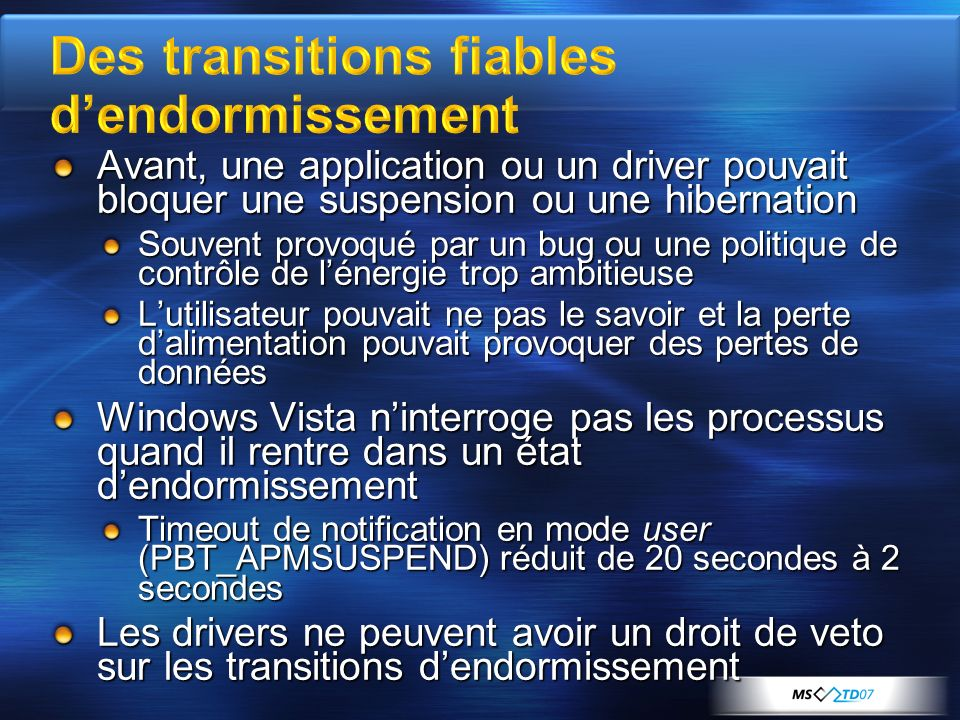 Des transitions fiables d'endormissement