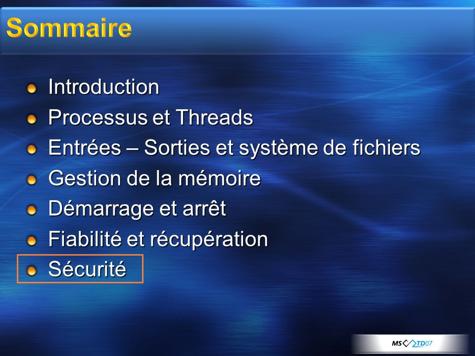 Sommaire Introduction Processus et Threads