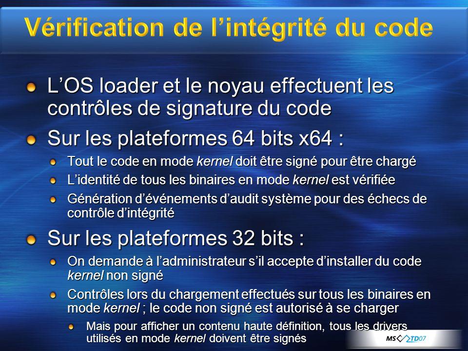 Vérification de l'intégrité du code