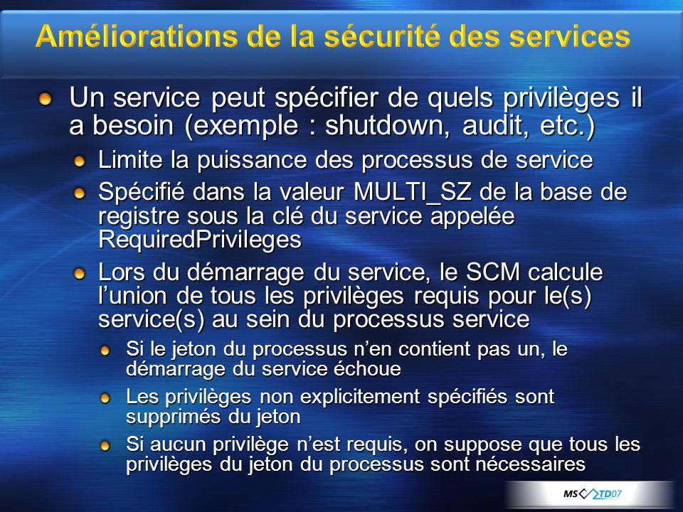 Améliorations de la sécurité des services