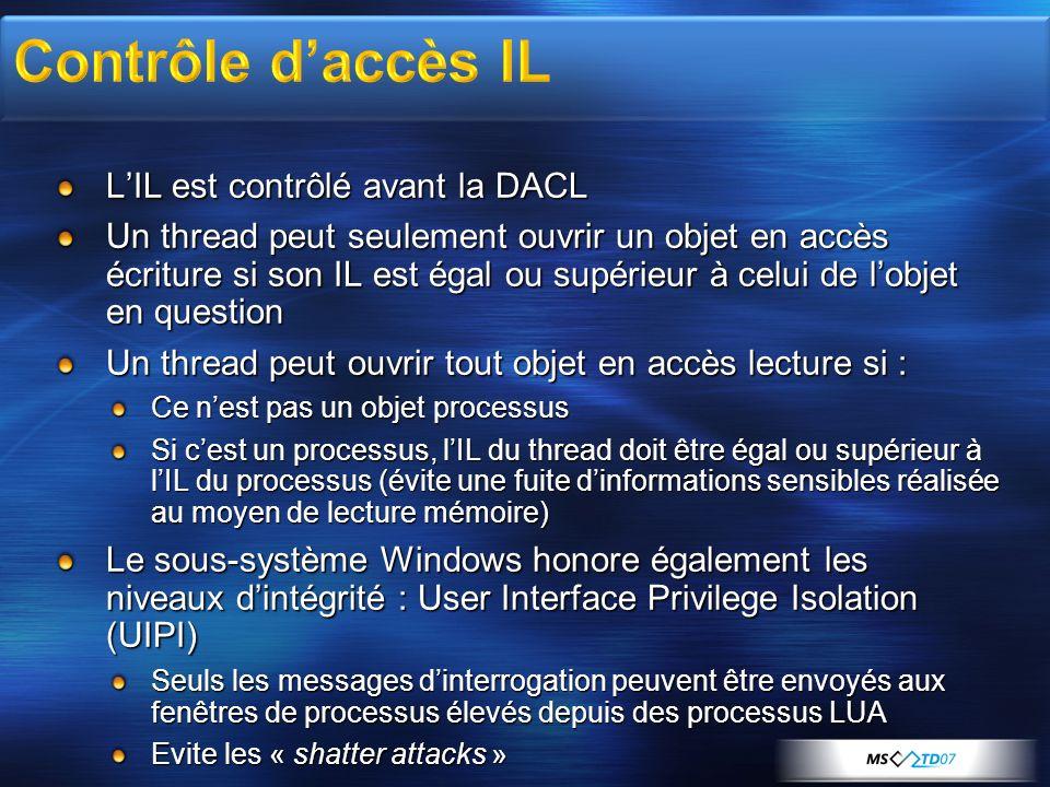Contrôle d'accès IL L'IL est contrôlé avant la DACL