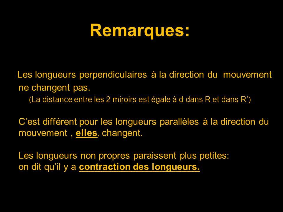 Remarques: Les longueurs perpendiculaires à la direction du mouvement ne changent pas.