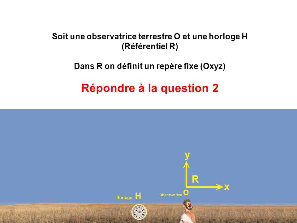 Soit une observatrice terrestre O et une horloge H (Référentiel R) Dans R on définit un repère fixe (Oxyz) Répondre à la question 2