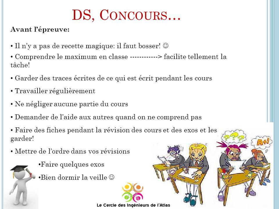 DS, Concours… Avant l'épreuve: