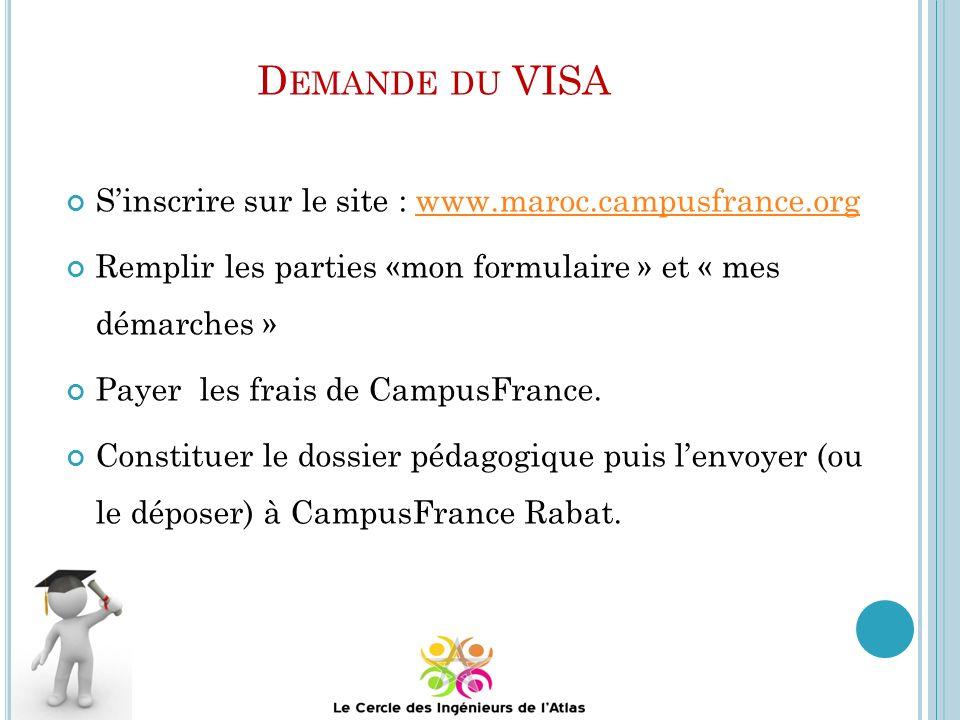 Demande du VISA S'inscrire sur le site : www.maroc.campusfrance.org