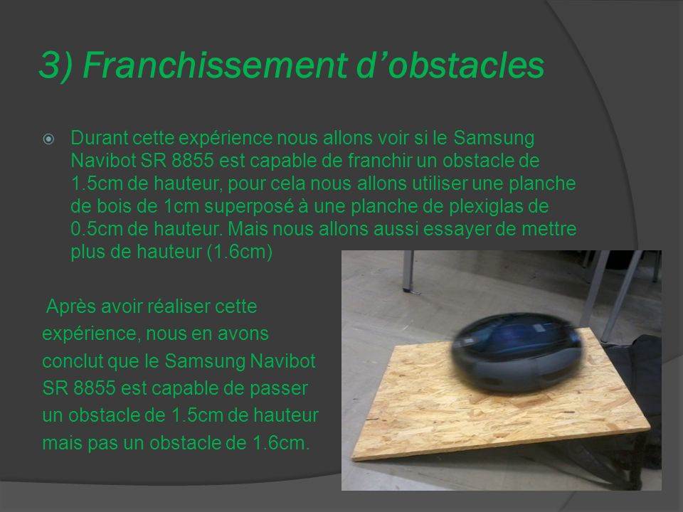 3) Franchissement d'obstacles