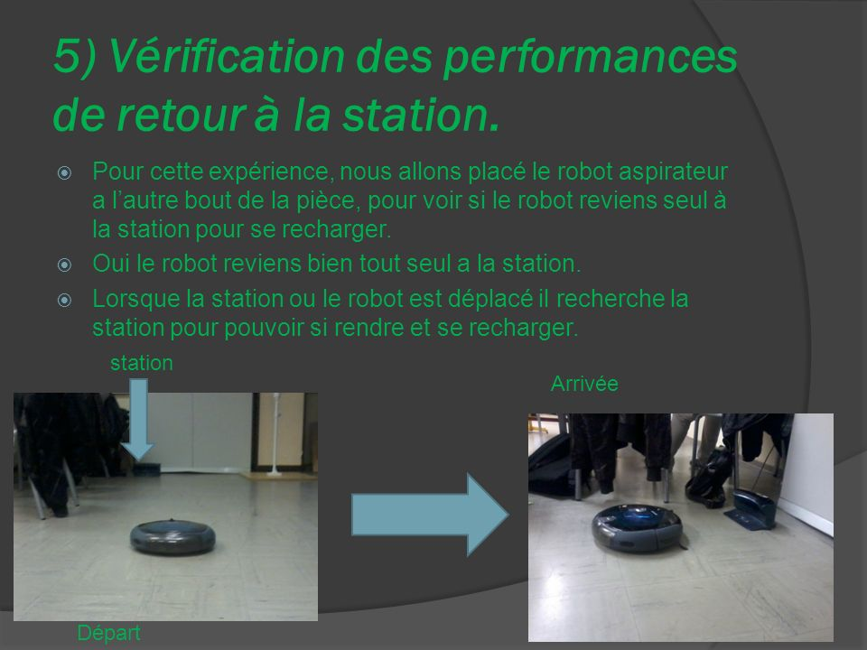 5) Vérification des performances de retour à la station.