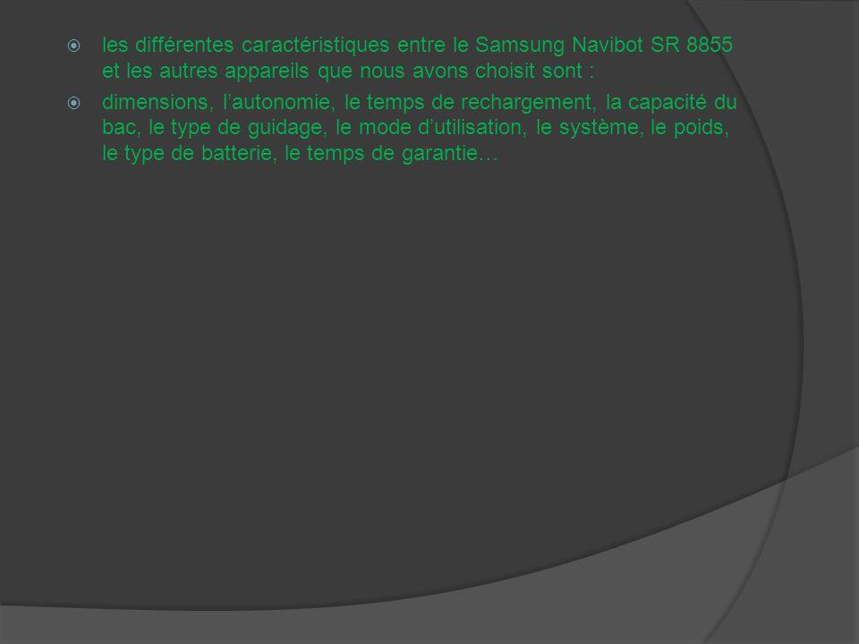 les différentes caractéristiques entre le Samsung Navibot SR 8855 et les autres appareils que nous avons choisit sont :
