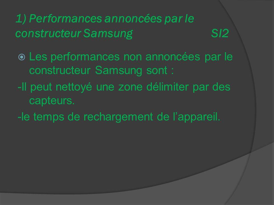 1) Performances annoncées par le constructeur Samsung SI2