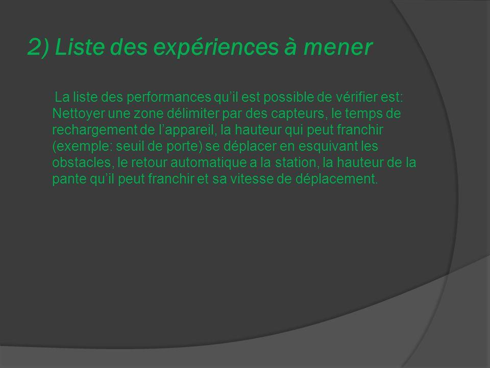 2) Liste des expériences à mener