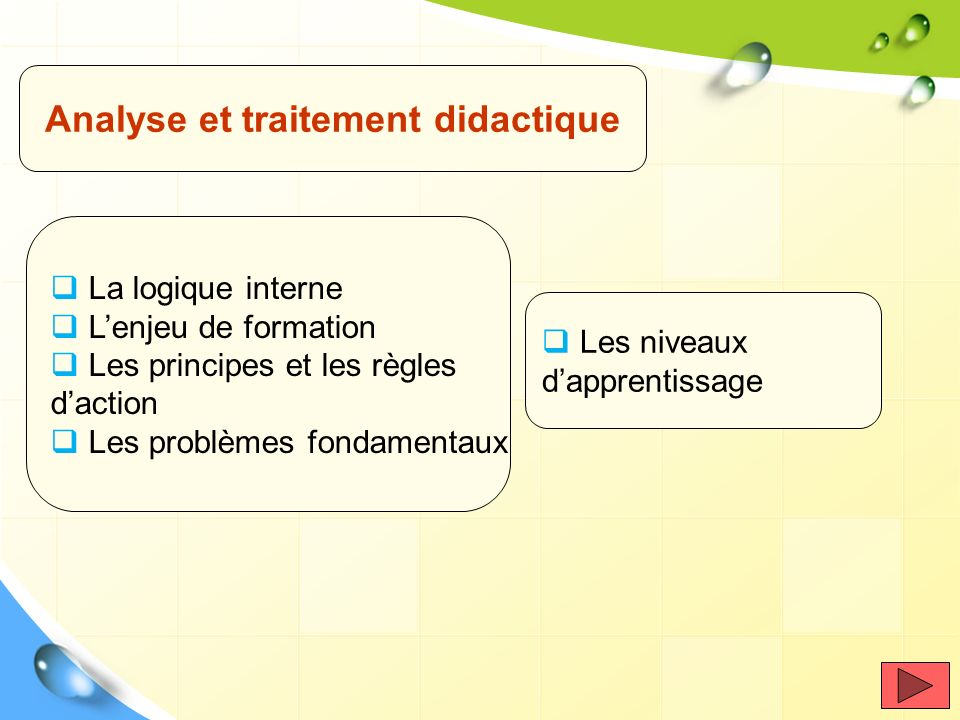 Analyse et traitement didactique