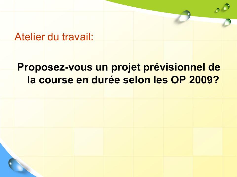 Atelier du travail: Proposez-vous un projet prévisionnel de la course en durée selon les OP 2009