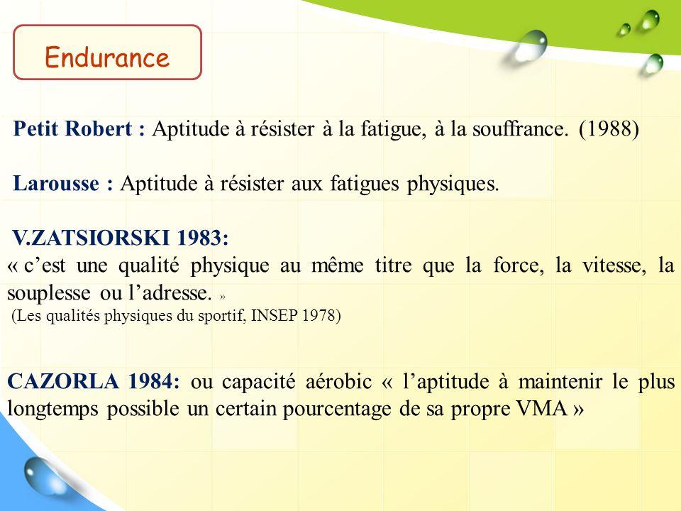 Endurance Petit Robert : Aptitude à résister à la fatigue, à la souffrance. (1988) Larousse : Aptitude à résister aux fatigues physiques.