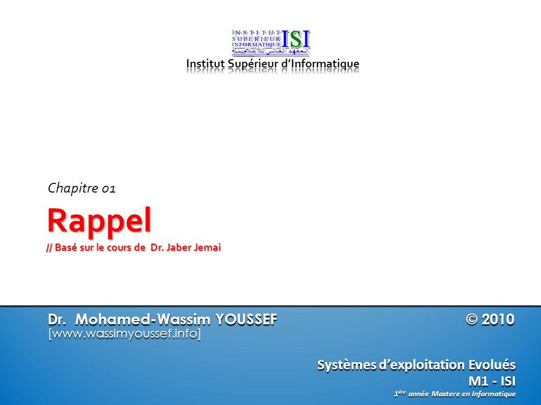 Rappel // Basé sur le cours de Dr. Jaber Jemai
