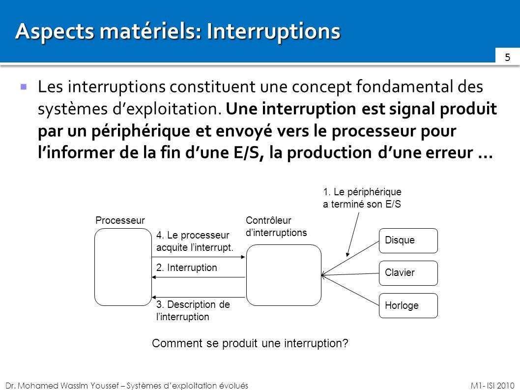 Aspects matériels: Interruptions