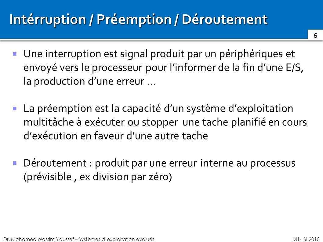 Intérruption / Préemption / Déroutement