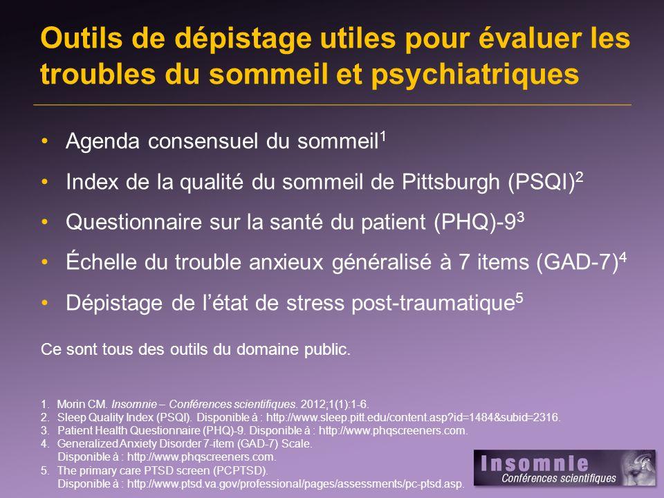 Outils de dépistage utiles pour évaluer les troubles du sommeil et psychiatriques