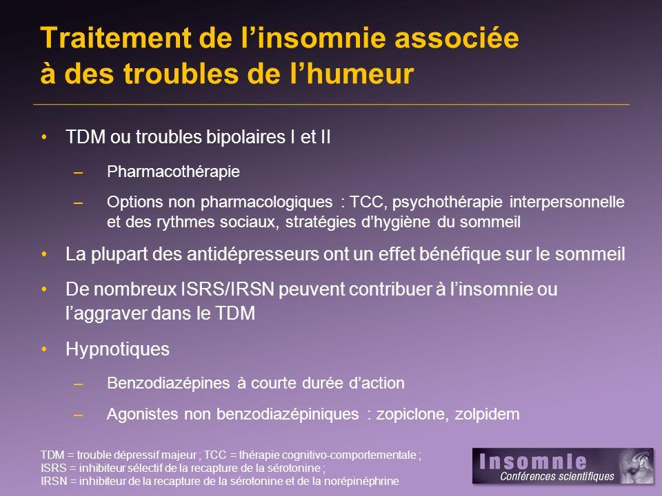 Traitement de l'insomnie associée à des troubles de l'humeur